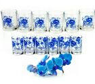 12 Glasses with Blue Flowers Decal Shot Glass Water Juice Cocktail Barware Glass