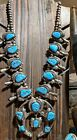 Large Native American Sterling Silver And Turquoise Squash Blossom Necklace 215