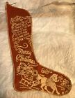 Antique Vintage Felt Christmas Stocking Merry Christmas Jingle Bells Sleigh