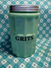 Jadeite Green Glass Large Grits Canister with Metal Lid in Excellent Condition
