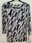Ruby Red Black Gray Geometric Tunic Blouse Womens Career Size Medium NWT