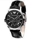Emporio Armani Classic Black Leather/Silver Quartz Analog Men's Watch AR2447 USA