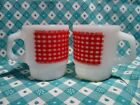 Vintage Fire King Anchor Hocking Red Checked Cup x 2 in Very Good Condition