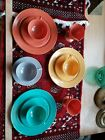 Vintage Hazel Atlas 13-Piece Child Dish Set, Muilticolor pastel Glass