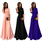 Womens 3/4 Sleeve Chiffon High Waist Cocktail Party Evening Prom Maxi Long Dress