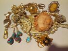 Vtg Victorian Hat Pin Hand Pocket Watch Fob Necklace Rings Costume Jewelry Lot