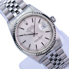 Mens Rolex Datejust 16234 Stainless Steel 36mm Watch Silver Dial 18K Gold Bezel