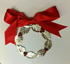 Vintage Sterling Silver Christmas Wreath Ornament Handmade in Italy