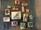 Lot of Rubber Stamps Large Bird rainbow flowers etc