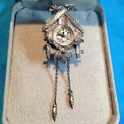 Vintage, Authentic, ERGO, Swiss Cuckoo Clock (Brooch) Timepiece