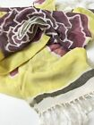 Crepe Silk Hand Dyed Scarf One Of A Kind Yellow Floral With Fringe Large