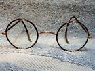 LENNON STYLE SOLID GOLD 1920S GLASSES COVERED FRAME WITH HAND CUSTOMIZED DESIGN