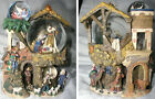 Triple Christmas Snow Globe Nativity Creche Animated Musical Scene Mint Video