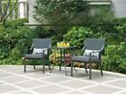 Bistro Set 3 Piece Metal Sling Back Cushion Outdoor Patio Furniture Deck Pool