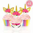 48pcs Rainbow Unicorn Cupcake Toppers  Wrappers Kids Birthday Party Cake Decor