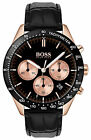 $329 HUGO BOSS Mens Talent Black 42mm Dial Rose Gold Chronograph Watch 1513580