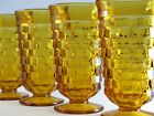 Vtg Set 4 Indiana Colony WHITEHALL Harvest Gold Iced Tea Footed Tumblers Cubic