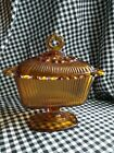 Vintage Indiana Pressed Glass Amber Lidded Pedestal Candy Dish Lacy edge EUC