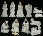 Christmas Nativity Vtg Set 12 Porcelain Figurines Holy Family Gilt Trim White 7