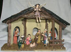 Christmas Nativity Scene 8 Figures 5 In Tall w Wooden Stable Static Display