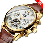 Business Tourbillon Mens Watch Luxury Automatic Mechanical Calendar Self-Winding
