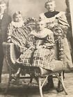 Victorian Family of 4 Children Cabinet Card fancy Wicker Courting Posing Chair