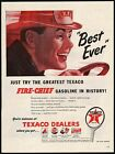 Vintage magazine ad TEXACO FIRE CHIEF gas oil 1946 man in hat driving and sign