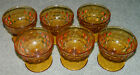 INDIANA WHITEHALL AMBER DESSERT SHERBET DISHES Stacked Cube Design SET OF 6