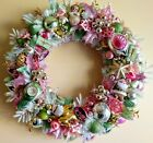Pastel Pink  Green Vintage Style Christmas Ornament Wreath