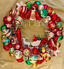 Vintage Antique  Sleigh Bells Ornament Christmas Wreath Tinsel Glass Plastic