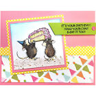 Stampendous clear acrylic stamp set HOUSE MOUSE BIRTHDAY SPLASH