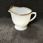 Anchor Hocking Fire King Oven Ware Creamer Shell White Swirl Gold Rim