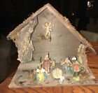 Vtg ITALY Nativity Set Manger 9 Pieces Wooden Bark Primitive Christmas 12 MCM