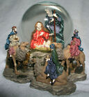 Christmas Nativity Snow Globe Large Music Silent Night Holy Family 3 Kings Video