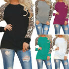 Womens Leopard Print Blouse Long Sleeve Crew Neck T Shirts Casual Tops Basic Tee