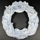 Christmas Nativity Wreath Arnels Ceramic Pastel Blue Manger Scene Angels Magi