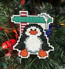 Handmade Cross Stitch Christmas Ornament-Completed-Penuin-North Pole-Home Decor