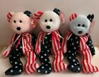 Fourth of July Americana Beanie Baby Bear Trio Red Blue & White Face Spangle