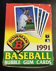 1991 Bowman Baseball Box Of 36 Unopened Packs Of Cards - Bubble Gum Cards