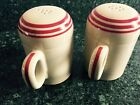HLCCA Fiestaware Retro Red Stripe Salt & Pepper Shakes Ivory W/ Red Stripes