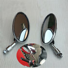 Oval ATV Moped Scooter Mirror Silver Chrome Plastic 10mm Screw Universal Pair