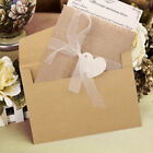 50x Vintage Burlap Rustic Country Invite Card Wedding Invitations Cards Kit Set
