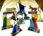 WONDERFUL Stained Glass Nativity Set 10 Pieces  TEXTURED GLASS