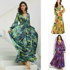 US Womens Floral Long Sleeve Boho Maxi Dress Evening Party Summer Beach Sundress