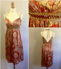 Oleg Cassini OC By OC Ladies Red Gold Paisley Strappy Empire Line Dress UK 12