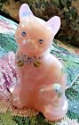 Fenton Cat Pink Blue Shell Figurine Sitting Forget me Nots Rare