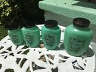 HTF Hazel Atlas Art Deco 4 Piece Green Glass Jar Kitchen Canister Set