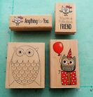 Lot of 4  OWL STAMPS  Birds Friendship Gift Party PENNY BLACK