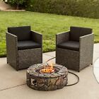 Outdoor Patio Natural Stone Gas Fire Pit Yard Decor w Lava Rocks Cover
