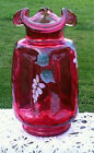 Fenton Cranberry Country Handpainted Small Ruffled Top Signed By D BARBOUR